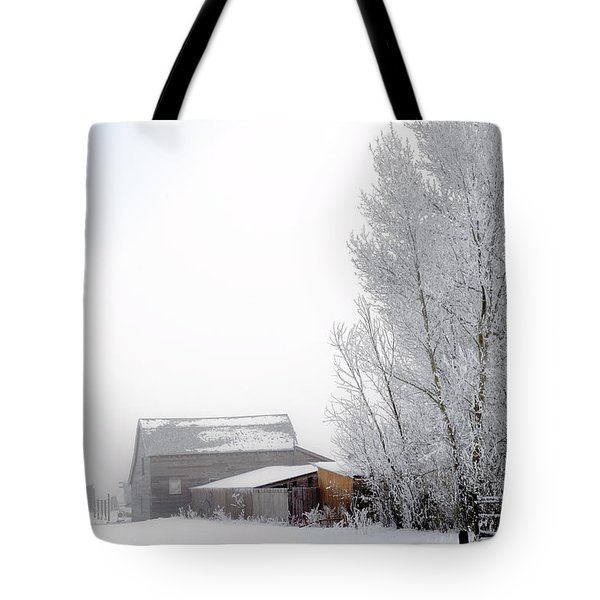 Ranch In Frozen Fog Tote Bag by Kae Cheatham