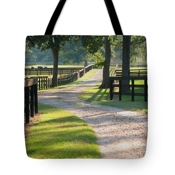 Ranch Road In Texas Tote Bag by Connie Fox