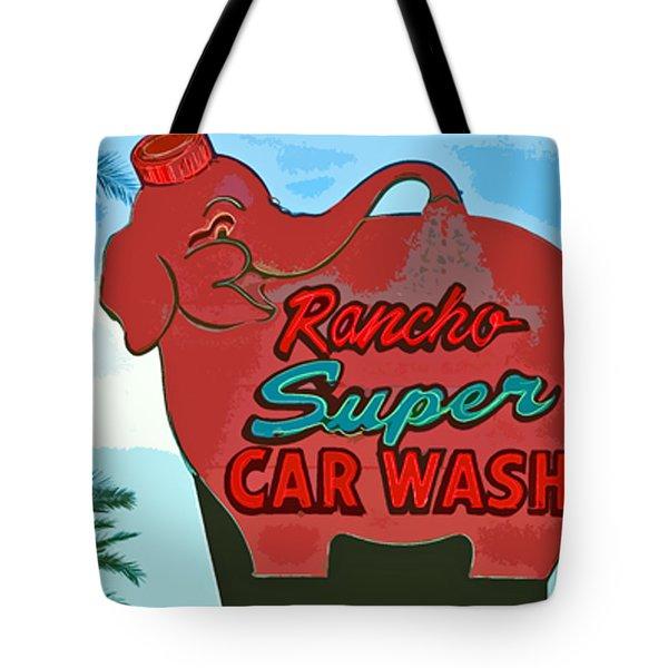 Rancho Super Car Wash Tote Bag by Charlette Miller