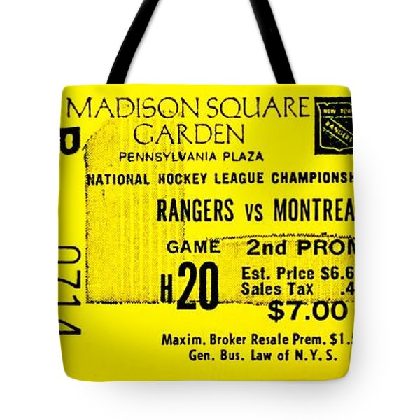 Rangers 6 Canadiens 5 Tote Bag by Benjamin Yeager