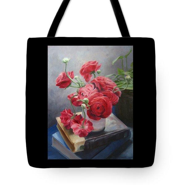 Ranunculus On Books Tote Bag
