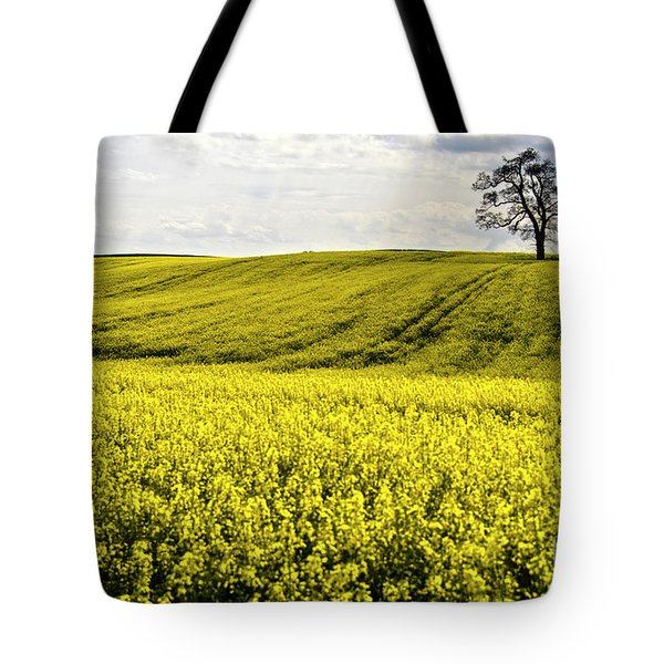 Rape Landscape With Lonely Tree Tote Bag