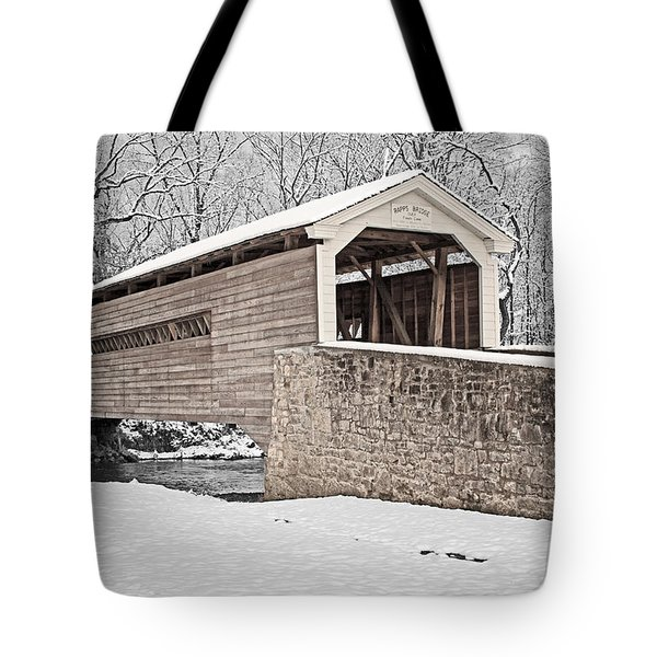 Rapps Bridge In Winter Tote Bag
