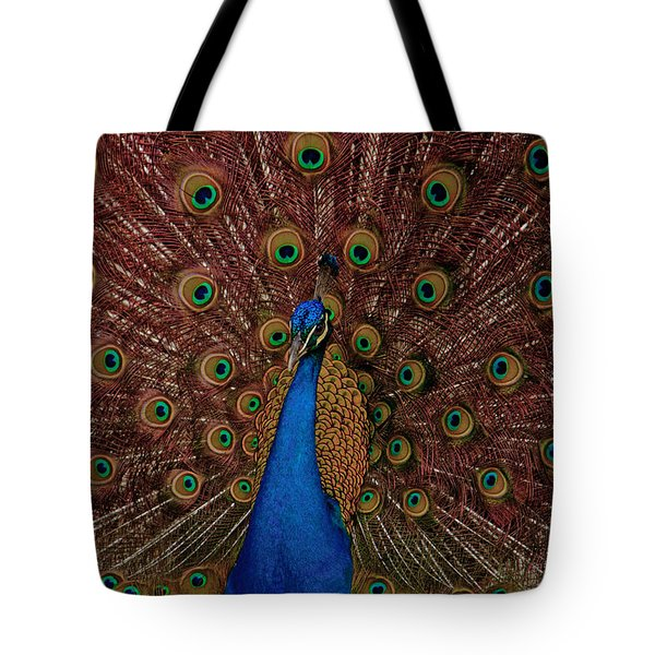 Tote Bag featuring the photograph Rare Pink Tail Peacock by Eti Reid
