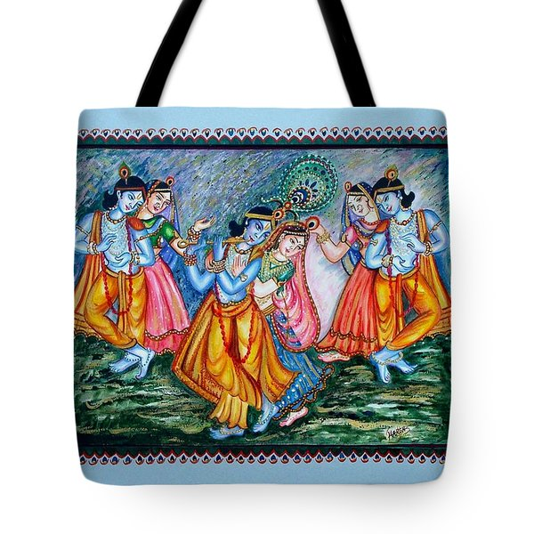 Tote Bag featuring the painting Ras Leela by Harsh Malik