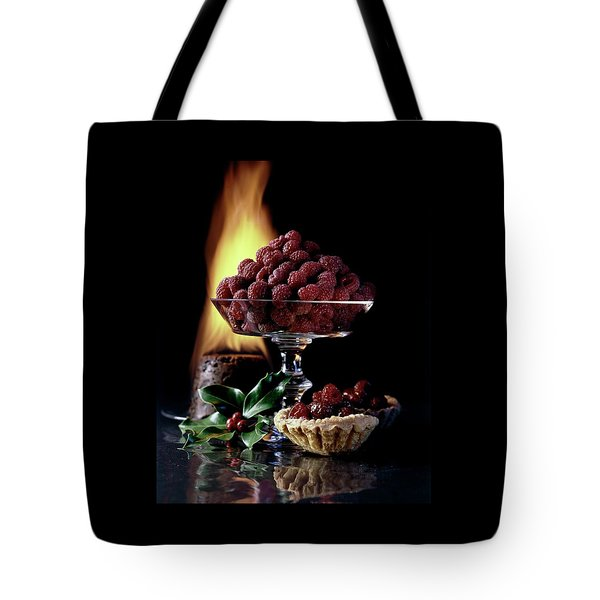 Raspberries In A Glass Serving Dish With Tarts Tote Bag