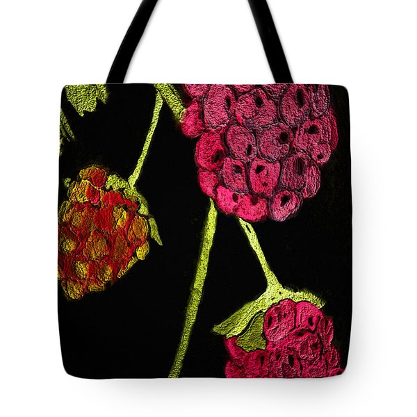 Tote Bag featuring the painting Raspberry Fabric by Paula Ayers