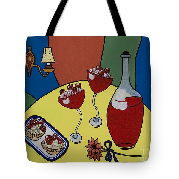 Tote Bag featuring the painting Raspberry Wine by Barbara McMahon