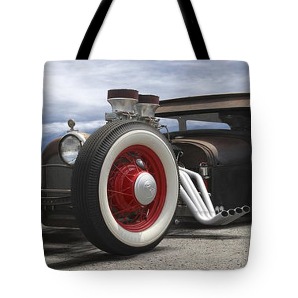 Rat Rod On Route 66 Panoramic Tote Bag by Mike McGlothlen
