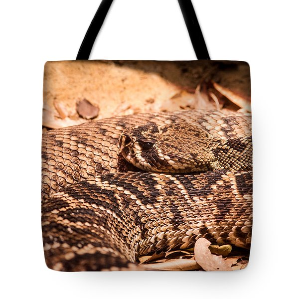 Rattlesnake Up Close And Personal Tote Bag by Douglas Barnett
