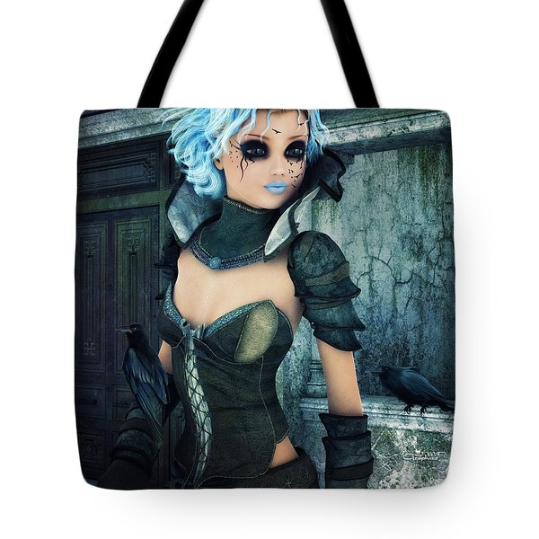 Raven Girl Tote Bag by Jutta Maria Pusl