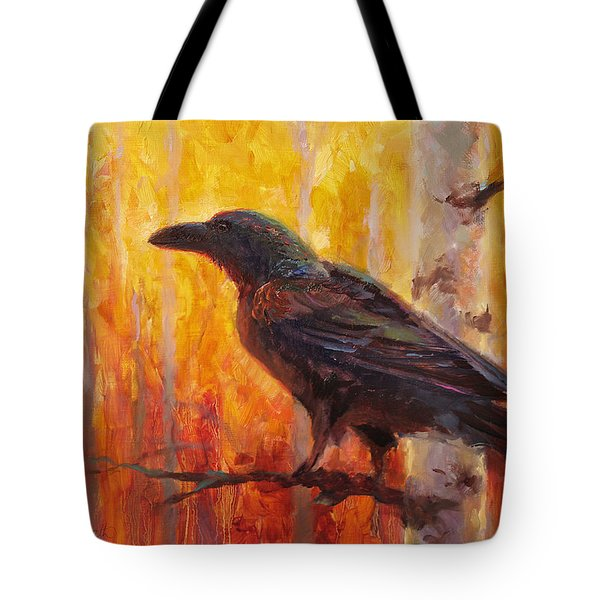 Raven Glow Autumn Forest Of Golden Leaves Tote Bag by Karen Whitworth