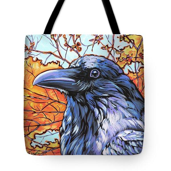 Raven Head Tote Bag by Nadi Spencer