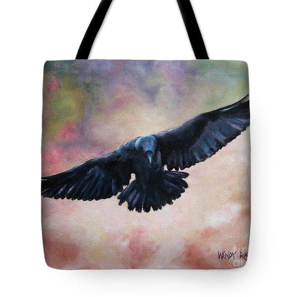 Raven In Flight Tote Bag