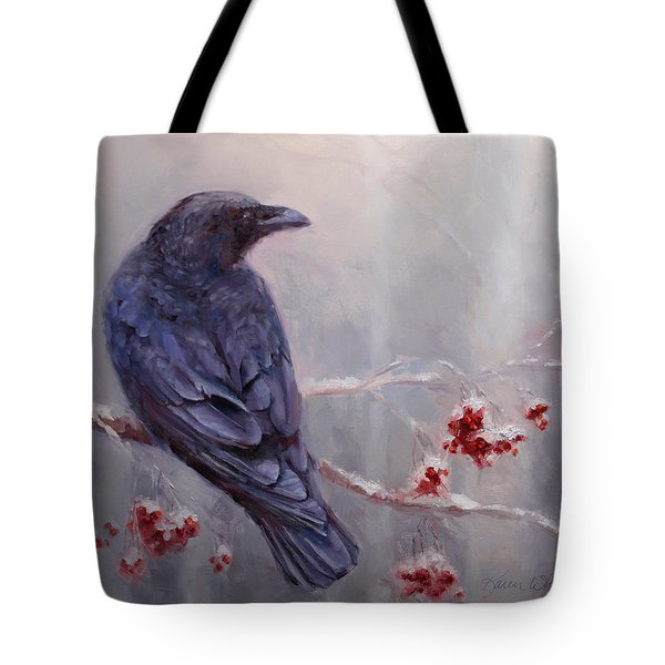 Raven In The Stillness - Black Bird Or Crow Resting In Winter Forest Tote Bag