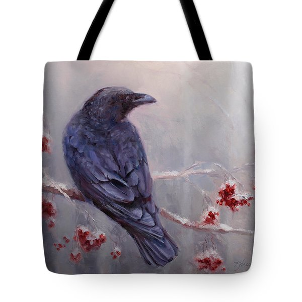 Raven In The Stillness - Black Bird Or Crow Resting In Winter Forest Tote Bag by Karen Whitworth