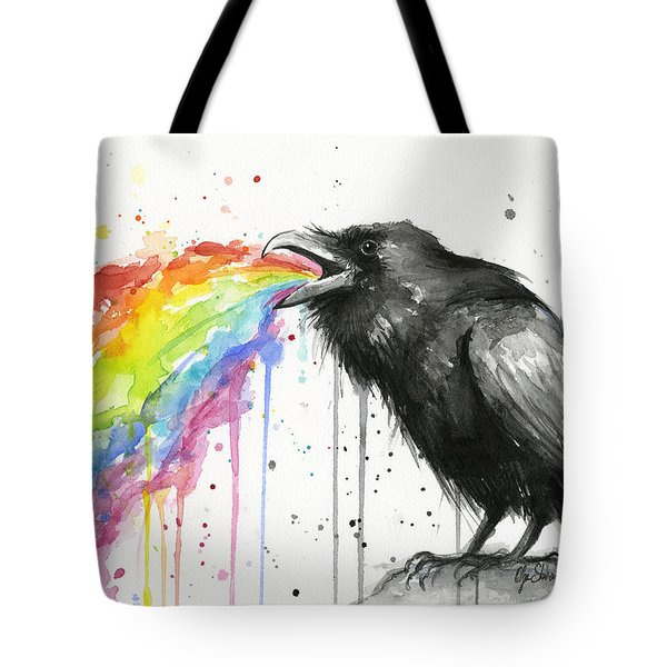 Raven Tastes The Rainbow Tote Bag