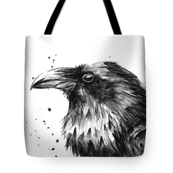 Raven Watercolor Portrait Tote Bag