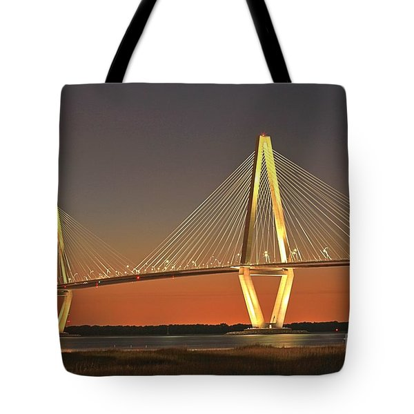 Ravenel Bridge At Dusk Tote Bag
