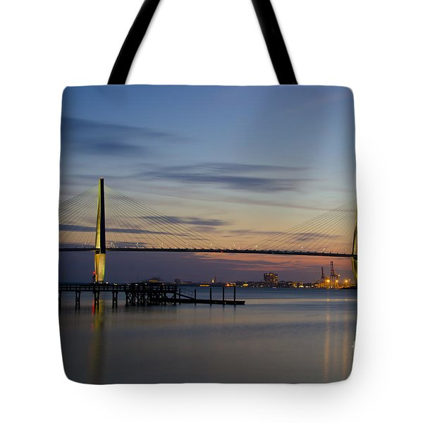 Tote Bag featuring the photograph Ravenel Bridge Nightfall by Dale Powell