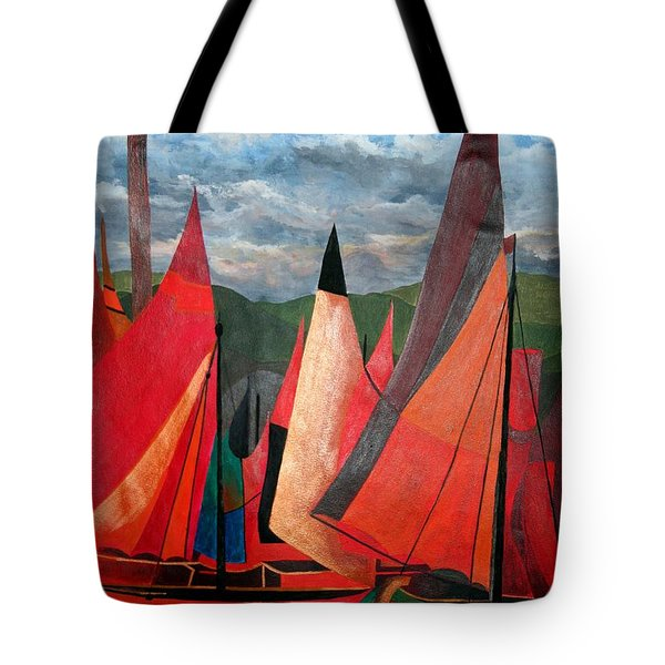 Tote Bag featuring the painting Ravenna Regatta by Tracey Harrington-Simpson