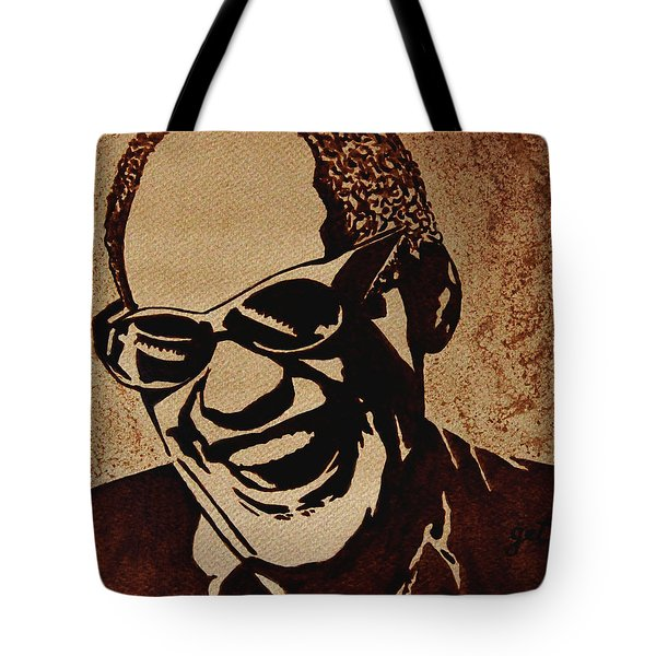 Ray Charles Original Coffee Painting Tote Bag by Georgeta  Blanaru