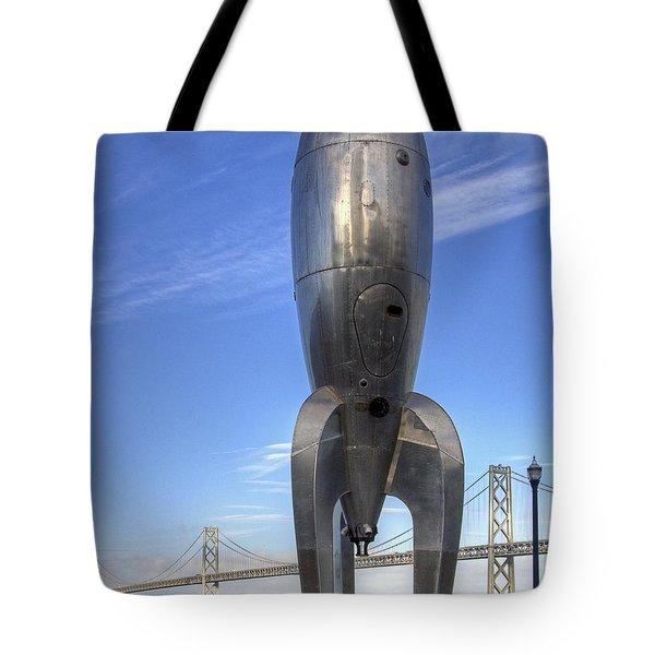 Raygun Gothic Rocketship Tote Bag