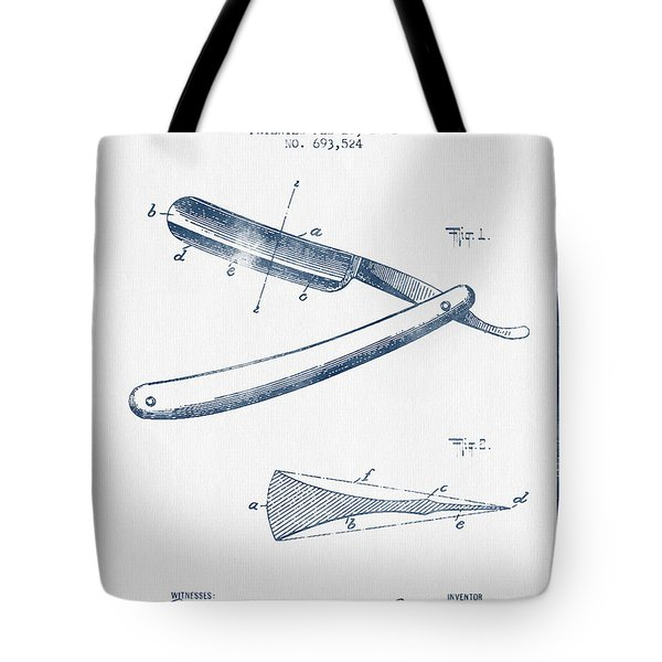 Razor Patent From 1902 - Blue Ink Tote Bag