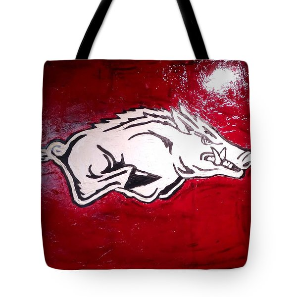 Razorback Painting Art Tote Bag by Dawn Bearden