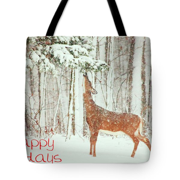 Reach For It Happy Holidays Tote Bag by Karol Livote