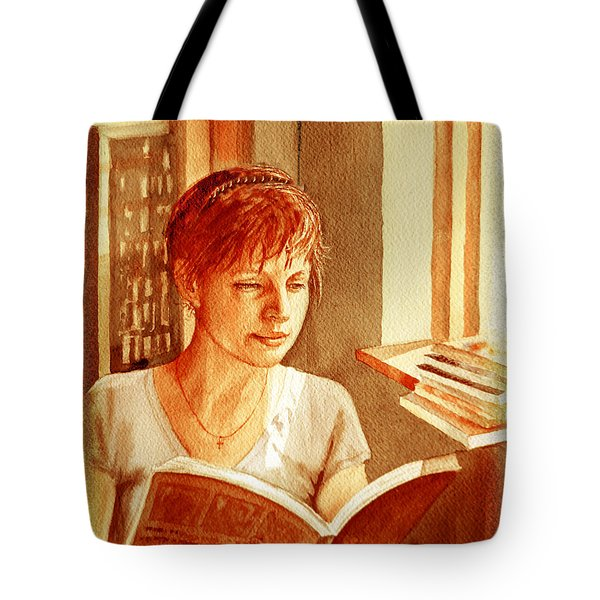Tote Bag featuring the painting Reading A Book Vintage Style by Irina Sztukowski