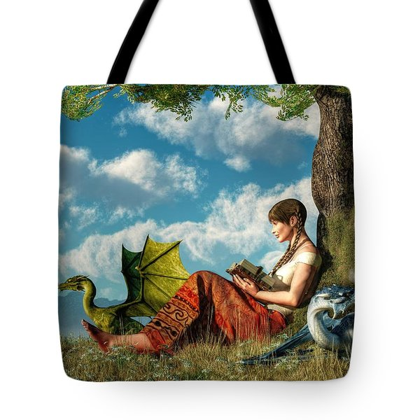 Reading About Dragons Tote Bag