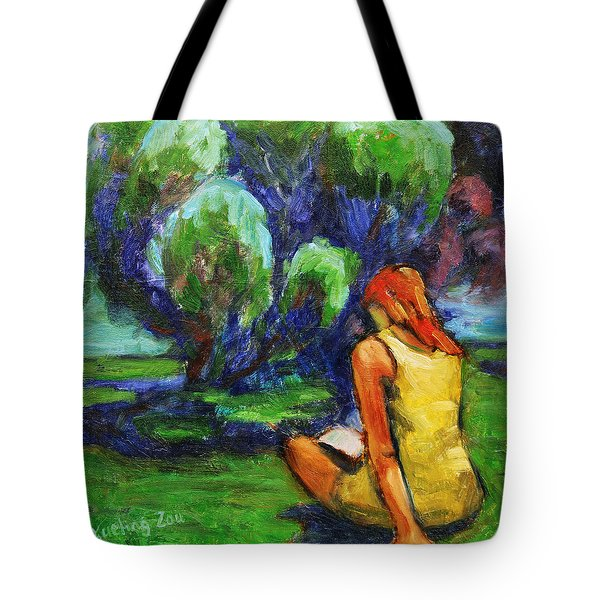 Tote Bag featuring the painting Reading In A Park by Xueling Zou