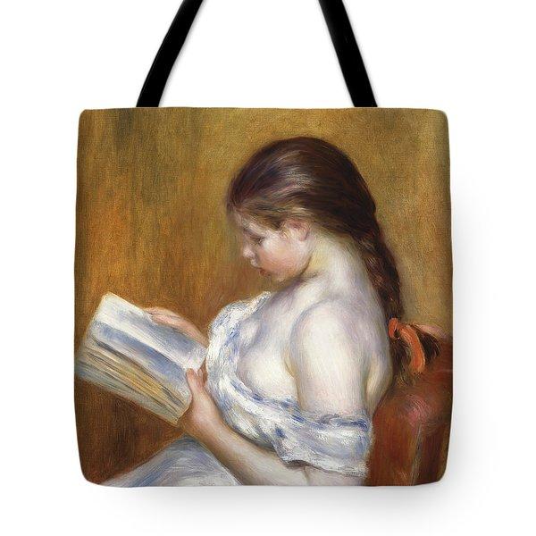 Reading Tote Bag by Pierre Auguste Renoir