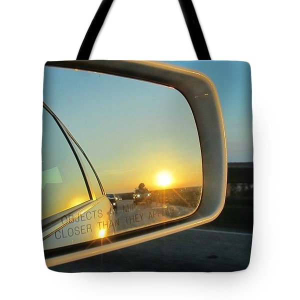 Rear View Sunset Tote Bag