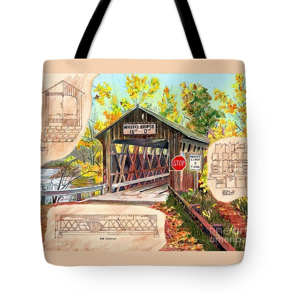 Tote Bag featuring the painting Rebuild The Bridge by LeAnne Sowa