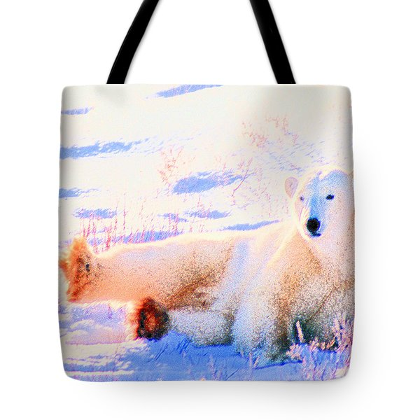 Reclining Polar Bear Tote Bag