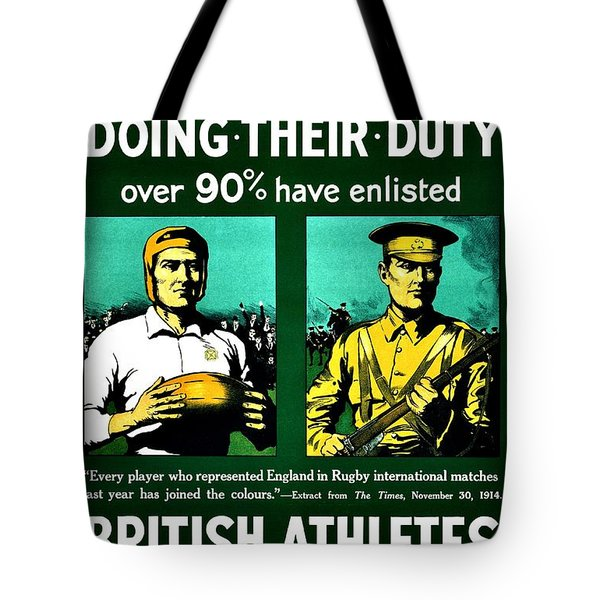 Recruiting Poster - Britain - Rugby Tote Bag by Benjamin Yeager