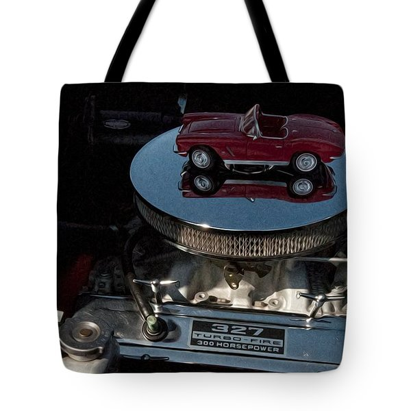 Red 1962 Chevrolet Corvette - Engine 327 - 300 Tote Bag by Liane Wright