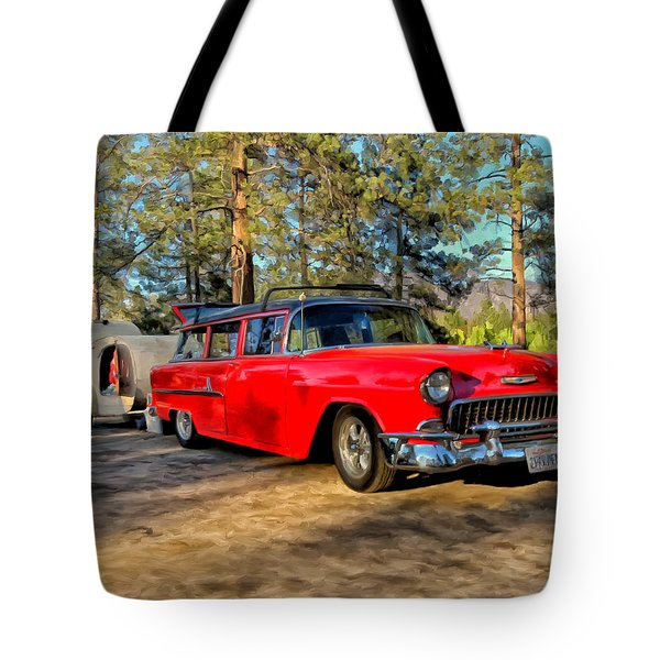 Tote Bag featuring the painting Red '55 Chevy Wagon by Michael Pickett