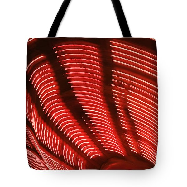 Red Abstract Light 15 Tote Bag by Tony Cordoza