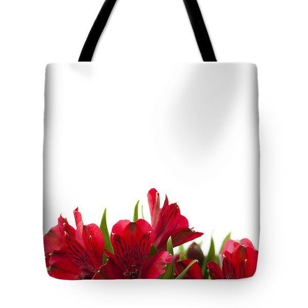 Red Alstroemeria Tote Bag by Anne Gilbert