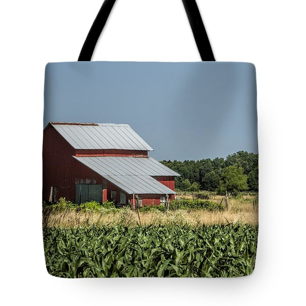 Red Amish Barn And Corn Fields Tote Bag by Kathy Clark