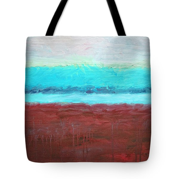 Red And Aqua Get Married Tote Bag by Michelle Calkins