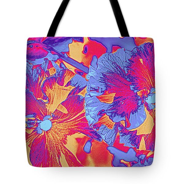 Red And Blue Pansies Pop Art Tote Bag by Dora Sofia Caputo Photographic Art and Design