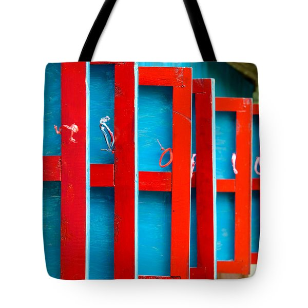 Red And Blue Wooden Shutters Tote Bag