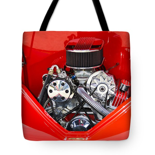 Red And Chrome Tote Bag by Carolyn Marshall