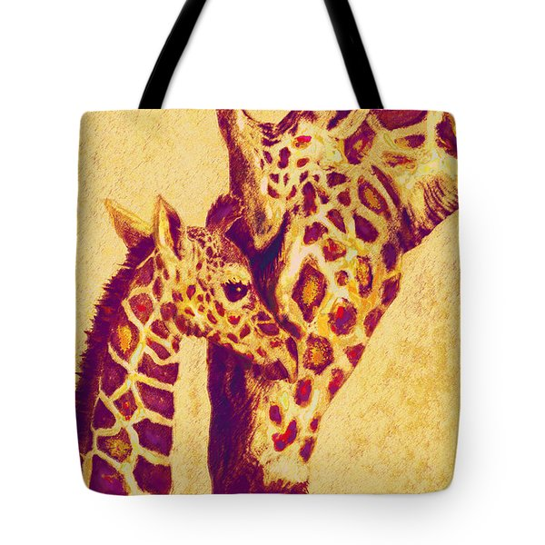 Red And Gold Giraffes Tote Bag