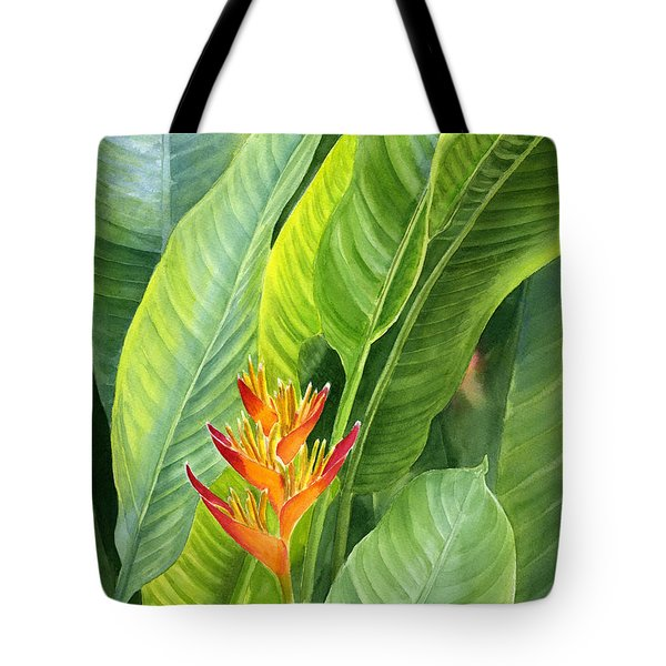 Red And Gold Heliconia Tote Bag