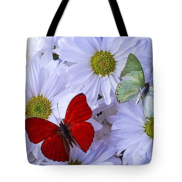 Red And Green Butterflies Tote Bag